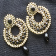 Designer Earrings with Black and white stones and Black tear droplets.