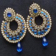 Designer Earrings with Blue and white stones and Blue tear droplets.
