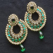Designer Earrings with Green and white stones and Green tear droplets.