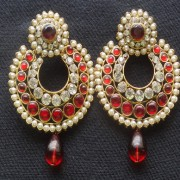 Designer Earrings with Maroon and white stones and Maroon tear droplets.