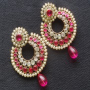 Designer Earrings with Pink and white stones and Pink tear droplets.
