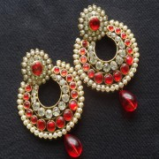 Designer Earrings with Red and white stones and Red tear droplets.