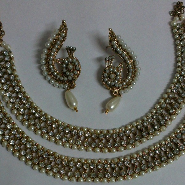 Traditional White Stone and pearl Anklet with PearPeacock Earrings