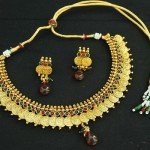 artificial designer kasumala copper Necklace set with maroon & green colour-1