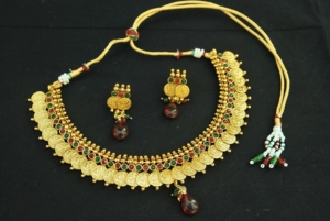 artificial designer kasumala copper Necklace set with maroon & green colour-2