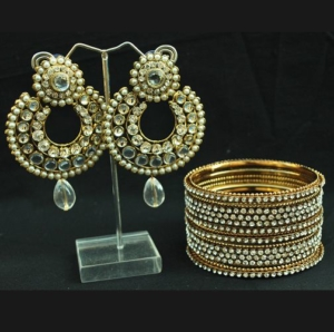Stone studded earrings and Bangles