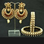 Crescent Red earrings with Pearl Bangle/ Kada Set