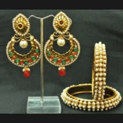 Crescent Multicolour earrings with Pearl Bangles