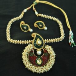 artifical beautiful multicolour pendant set & with necklace studded with pearls