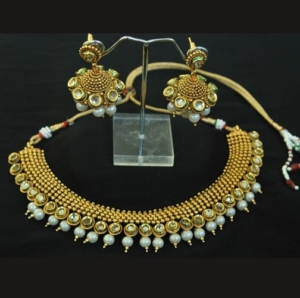 Gold Plated Kundan & Pearl Necklace set with Beautiful Jhumkaas