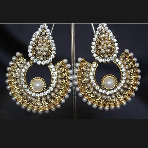 Imitation tone studded pearl earrings-1
