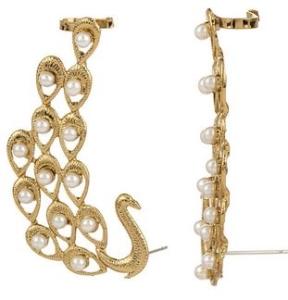 artificial designer peacock ear cuffs In gold tone