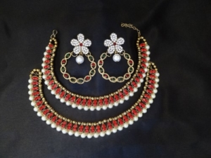 Multicolour Floral Earrings with Red stone anklets