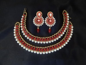 Red stones and White pearl anklets with Earrings