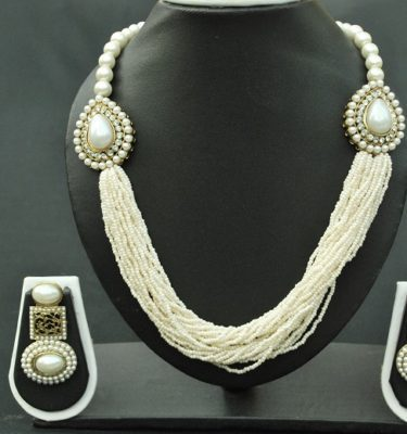 Imitation exquisite multistrand pearl necklace with white stones & matching long pearl earrings