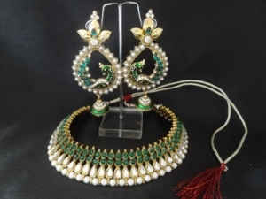 Green stone Kundan necklace with Green Peacock earrings - Reeti ...