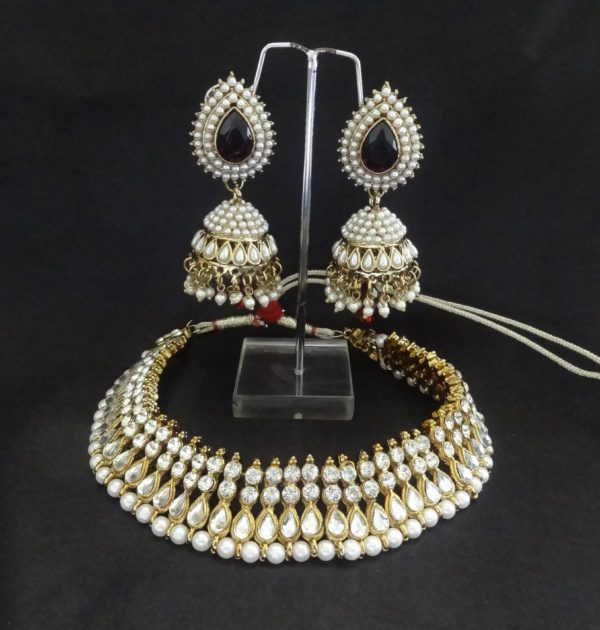 Traditional Red and Pearl Jhumka with Necklace | reeti fashions