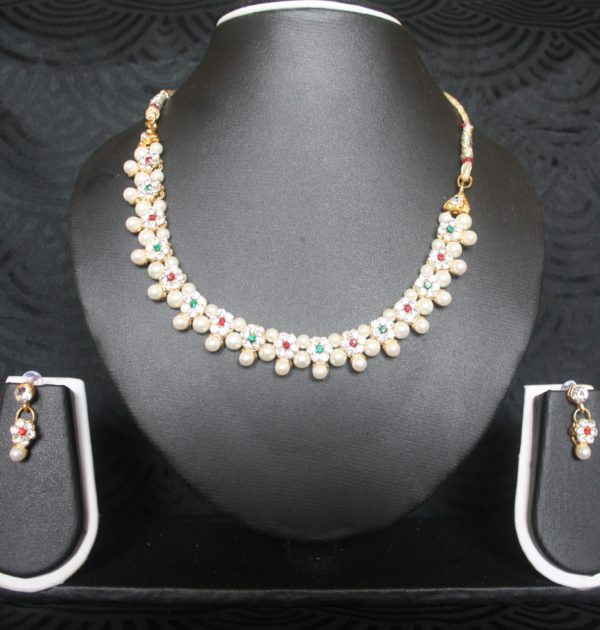 Multicolour Floral Pearl necklace set | Reeti Fashions