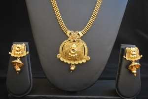 artificial gold tone artificial long haram necklace set