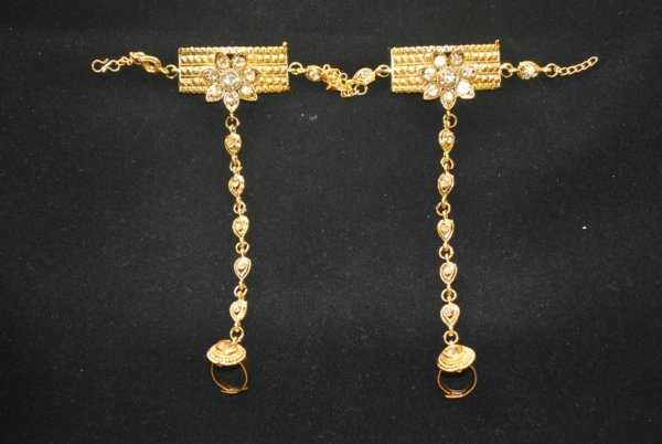 Imitation chandra nandini – helena's bridal jewellery set in gold tone 2