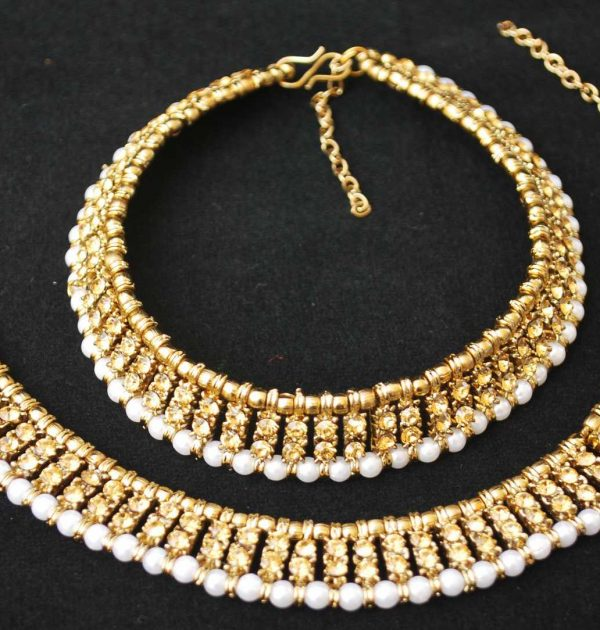 Imitation artificial golden stone studded anklets-1