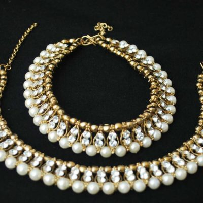 Imitation artificial Jewellery white stone and pearls studded anklets-1