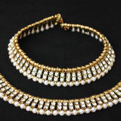 Imitation jewellery white stone studded anklets