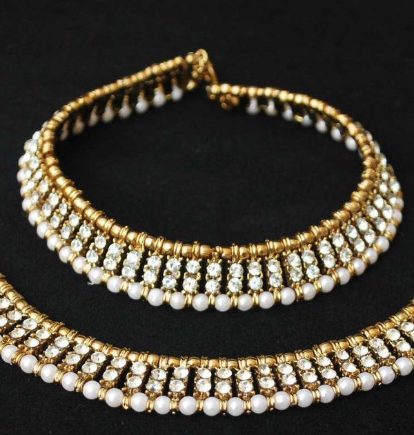 Imitation jewellery white stone studded anklets