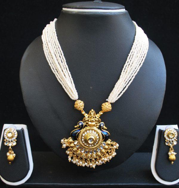 Imitation multilayer peacock motif necklace set and Jadau-3