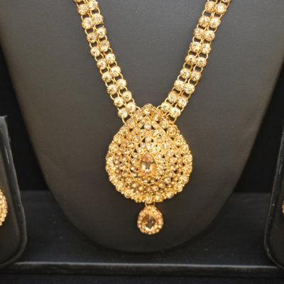 Imitation Bridal Jewellery set in gold tone stones (4 Pieces)