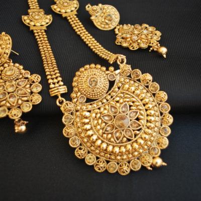 Imitation reeti fashions round motif fine work necklace set-1