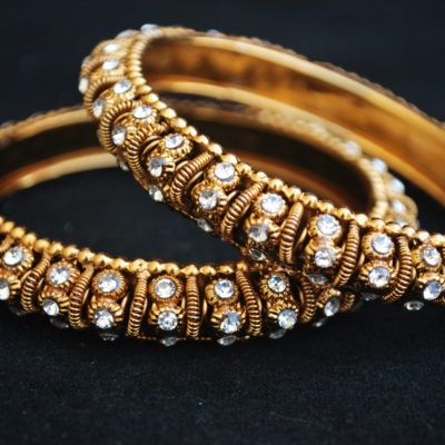 A Pair Golden colour White Stone Studded Bangles
