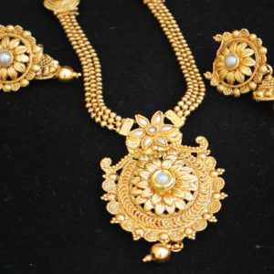 Imitation artificial jewellery gold tone pearl phulkari motif long haram