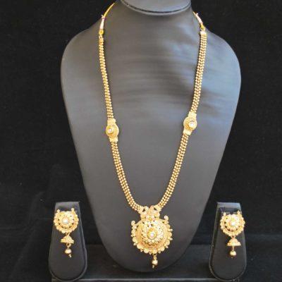Imitation artificial jewellery gold tone pearl phulkari motif long haram