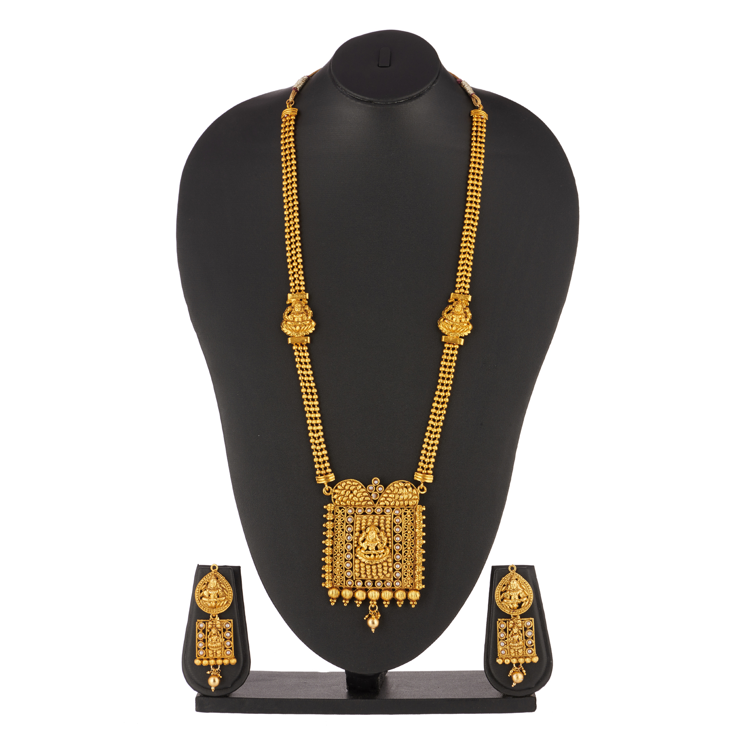 artificial flawless long hararm temple jewellery in gold tone-1