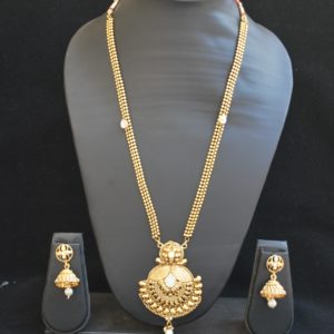 artificial long haram necklace set in gold tone-1