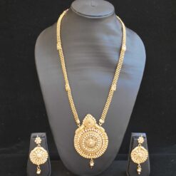 Imitation artificial necklace set in round motif long and gold-2