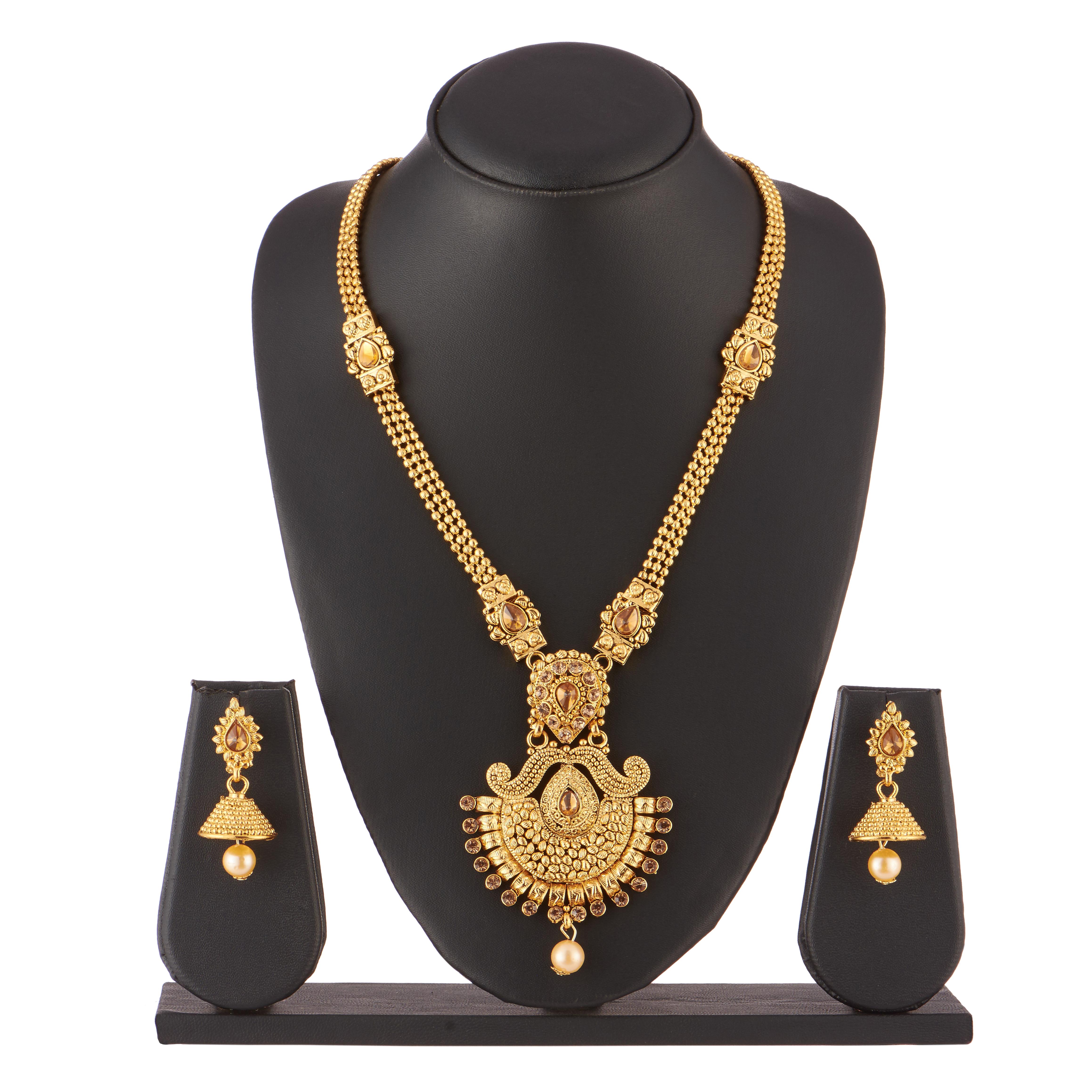 Imitation artificial jewellery gorgeous long haram necklace set