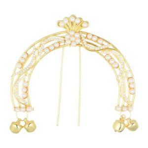 artificial pearl studded juda pin with ghungru