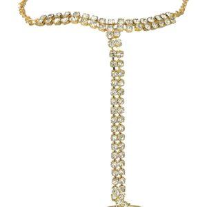 Imitation artificial jewelery hath panja with white stones