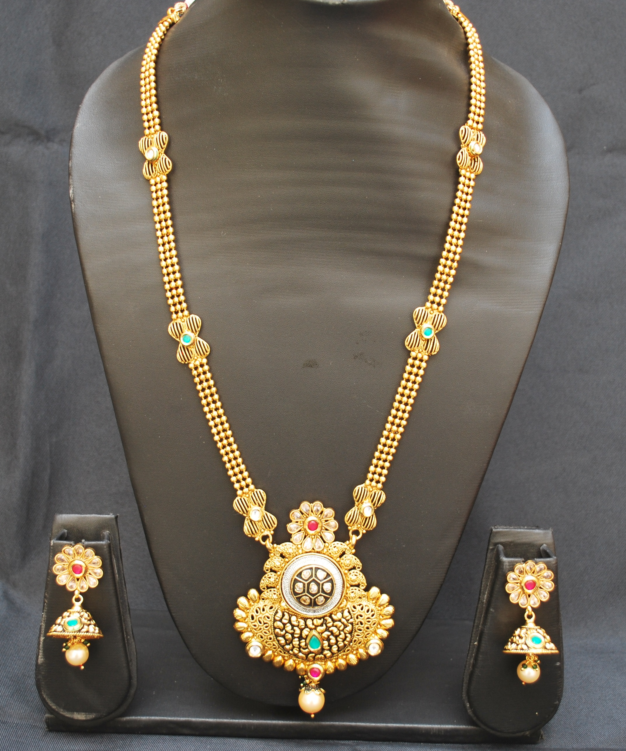 artificial imitation jewellery gorgeous brilliant copper base necklace set-1