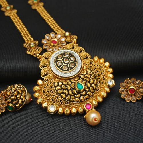 artificial imitation jewellery gorgeous brilliant copper base necklace set