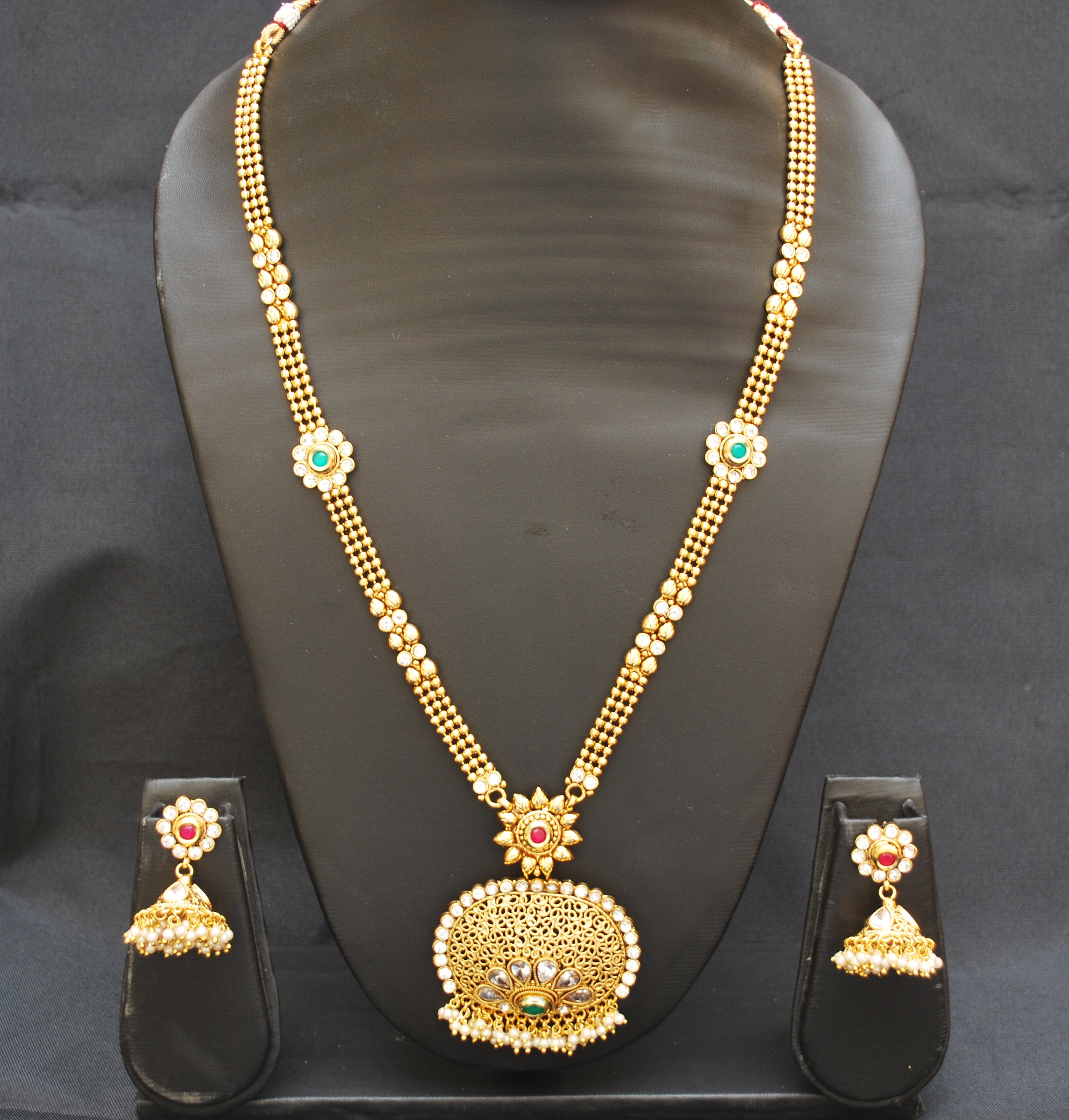 artificial imitation jewellery one-of-kind copper base necklace set-1
