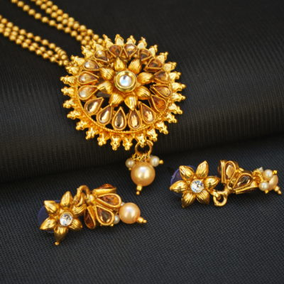 Imitation artificial elegant floral pendant set with beaded chain-1