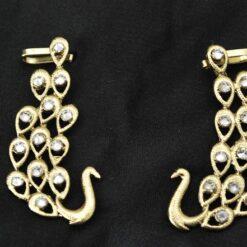 peacock motif earcuffs