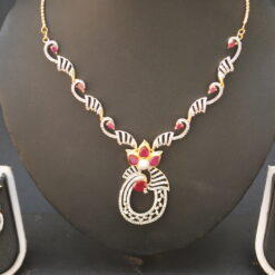 artificial ad necklace set in pink