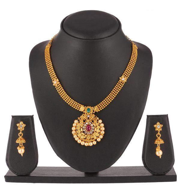 artificial beautiful golden necklace set
