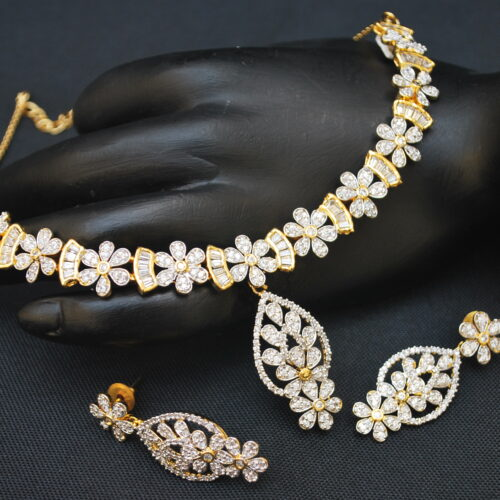artificial fascinating american diamond necklace set