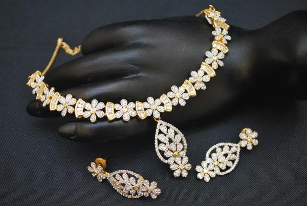 artificial fascinating american diamond necklace set