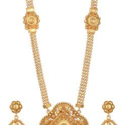 artificial geometrical motif artificial long haram necklace set-1